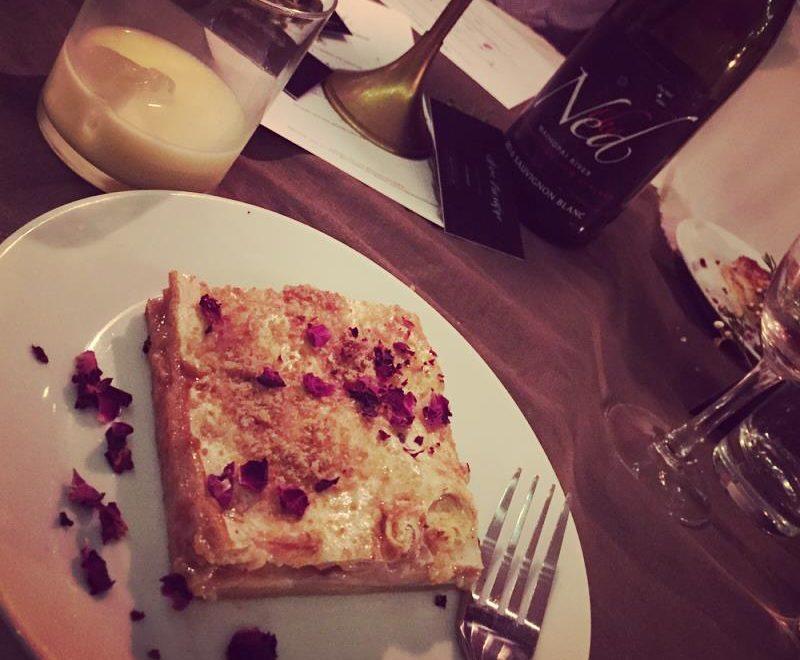 Polish Pleśniak cake with rose and rhubarb